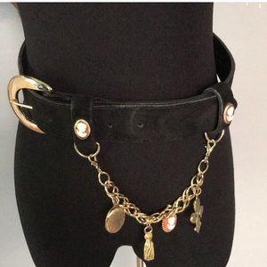 Vintage Black suede belt with gold charm bracelet